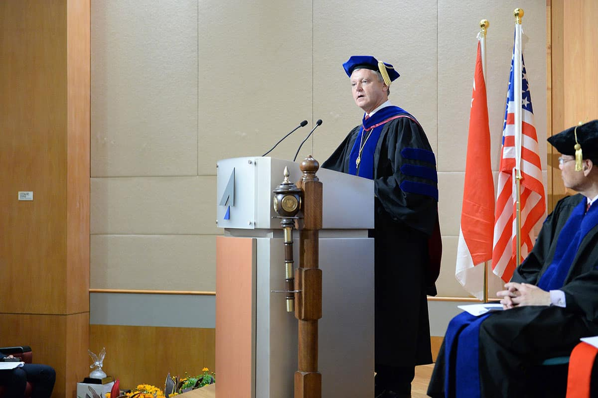 Watret Giving a Speech at Asia Graduation