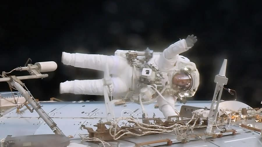 NASA astronauts Peggy Whitson on a spacewalk outside the International Space Station.