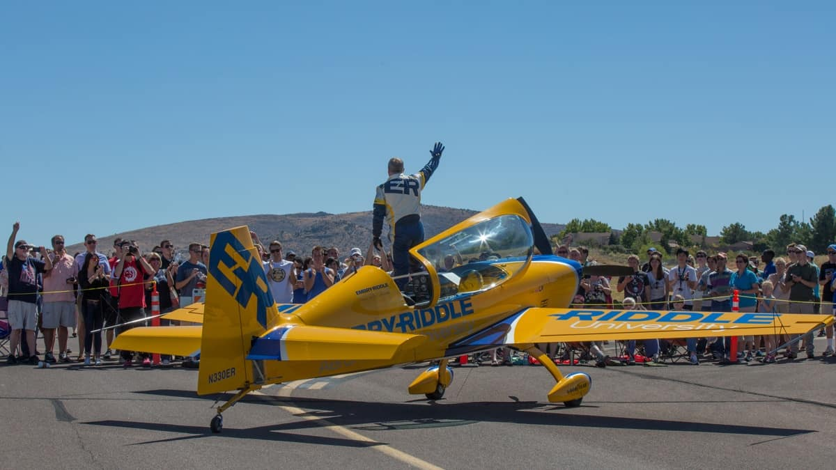 Airshow Pilot Matt Chapman waves to the Wings Out West Crowd