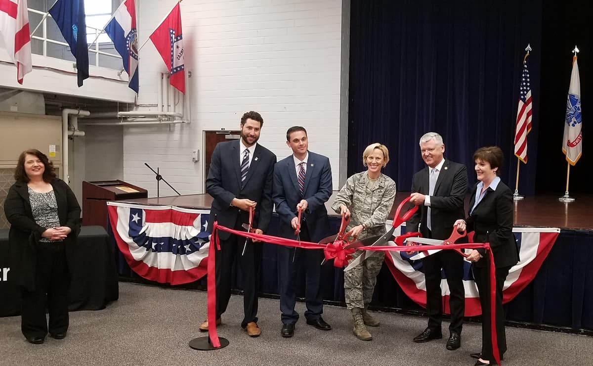 Microsoft representatives, military members and Embry-Riddle Aeronautical University's Worldwide Chancellor Dr. John R. Watret cut the red ribbon for the MSSA at JBSA-Fort Sam Houston Military & Family Readiness Center.